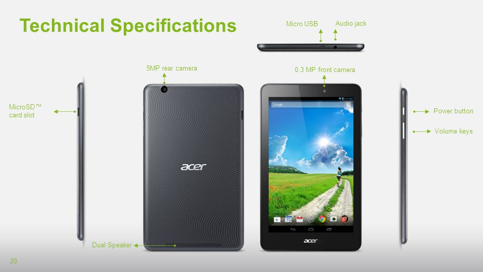 Technical Specifications1 | Iconia One 7 [B1-750]